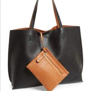 StreetLevel Reversible Tote Bag Black/Tan NEW